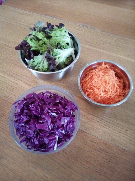 Crudités carottes chou violet salade